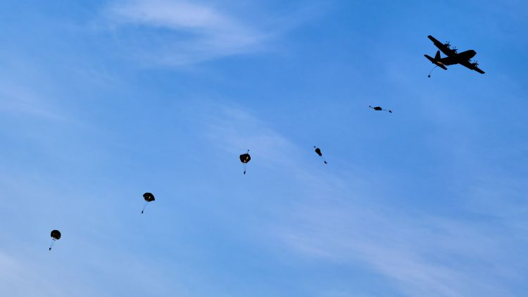 Royal Marines parachute from an American Super Hercules in Sweden 280220 CREDIT MOD