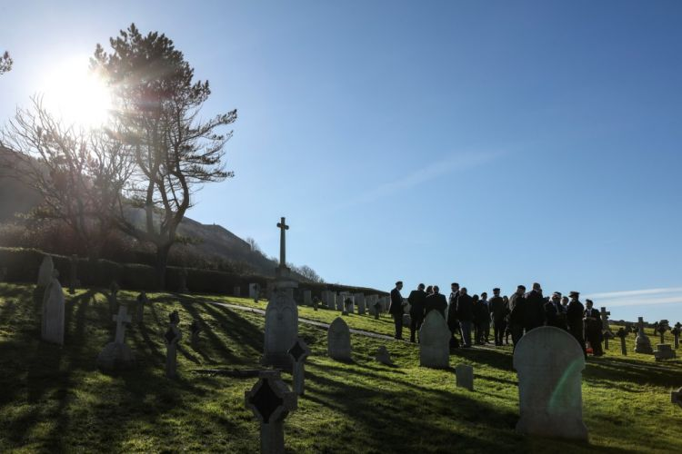 Japanese Defence attaché to the UK and Portland Royal Naval association attend service at Royal Navy Cemetery in Portland Dorset