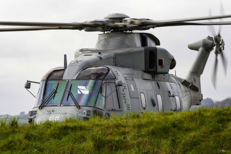 Royal Navy Merlin helicopter at HMS Kent disaster relief exercise