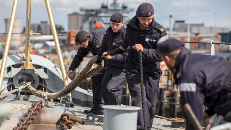Royal Navy personnel on HMS Lancaster leave Portsmouth for weapons trials 100620 CREDIT Royal Navy