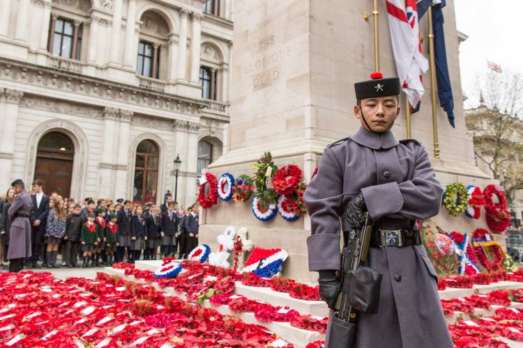 Soldiers from the Royal Gurkha Regiment stood guard around the Cenotaph