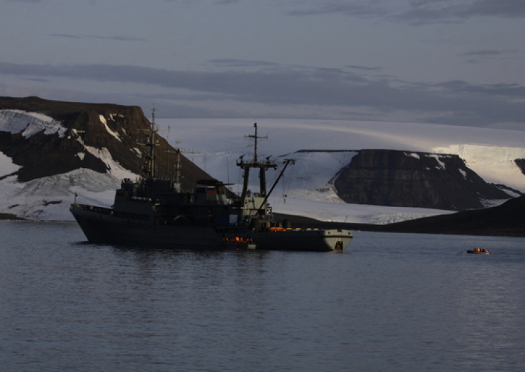 Russian boat and tugboat near Franz Josef Land