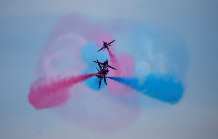 The Red Arrows practice displays in Greece