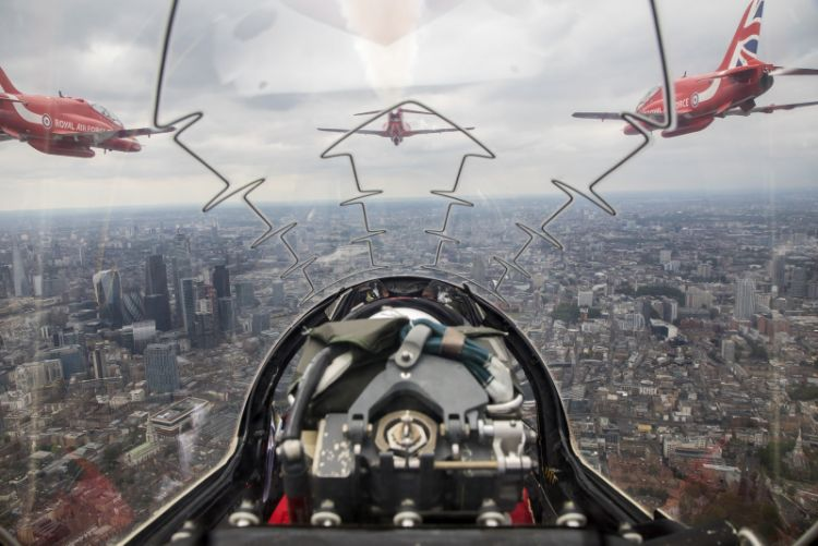 a Red Arrows flypast over London, taken from Red 10's aircraft, piloted by Sqn Ldr Adam Collins with Cpl Ashley Keates, team photographer in the rear.