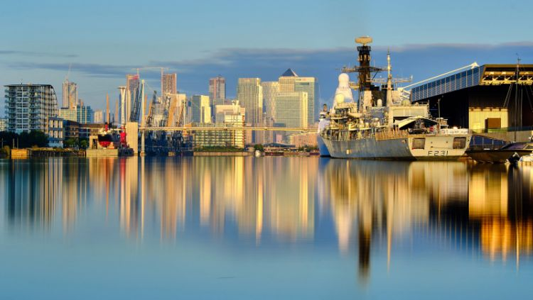 HMS Argyll at the Excel Centre in London. This image was taken with a Neutral Density filter and long exposure.