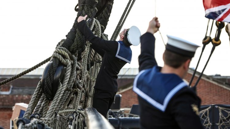 Sailor on HMS Victory for Trafalgar Day - Anonymous 211017 CREDIT Royal Navy