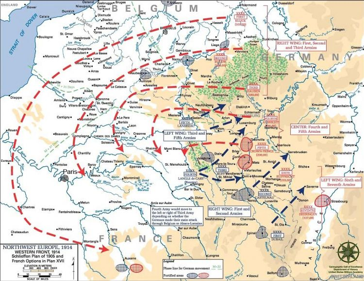 A map showing the Schlieffen Plan
