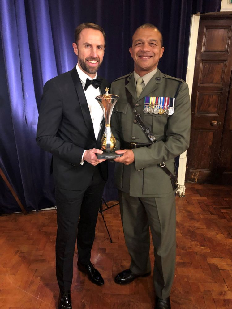 Gareth Southgate with Scotty Mills at the Millies 2018