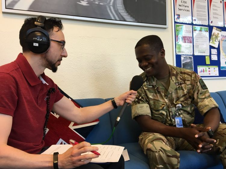 Hal Stewart with Sgt Nana Sarpong at Brunssum NATO base