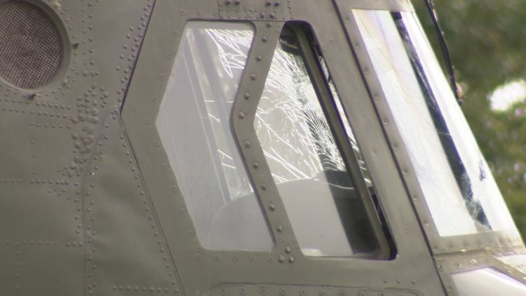 Smashed window on RAF Chinook in Wales 290720 CREDIT BFBS