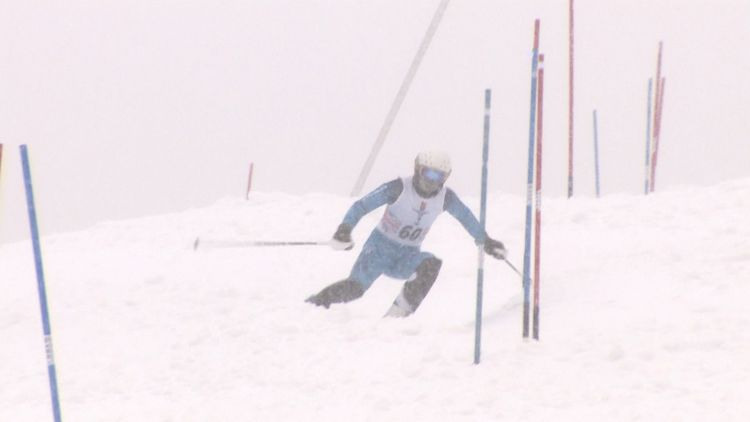 Snowy weather conditions during Alpine Ski Downhill Finals in ISSSC 2020 030220 CREDIT BFBS