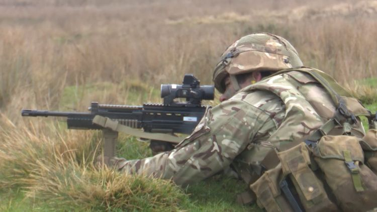 Soldier taking part in Exercise Wessex Storm Prep from the Scots Guards 110219 CREDIT BFBS.jpg .jpg
