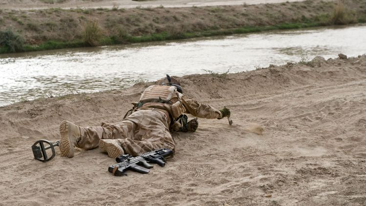 Soldier Bomb Disposal Afghanistan Improvised Explosive Device IED Sand Brush DNI