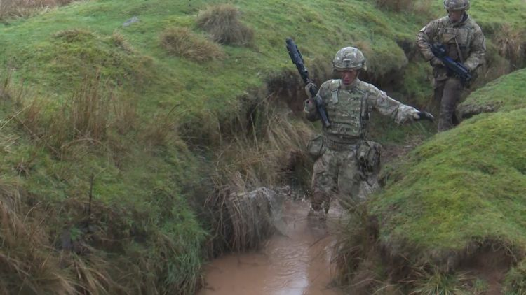 Soldiers getting wet as they take part in Exercise Wessex Storm Prep from the Scots Guards 110219 CREDIT BFBS.jpg