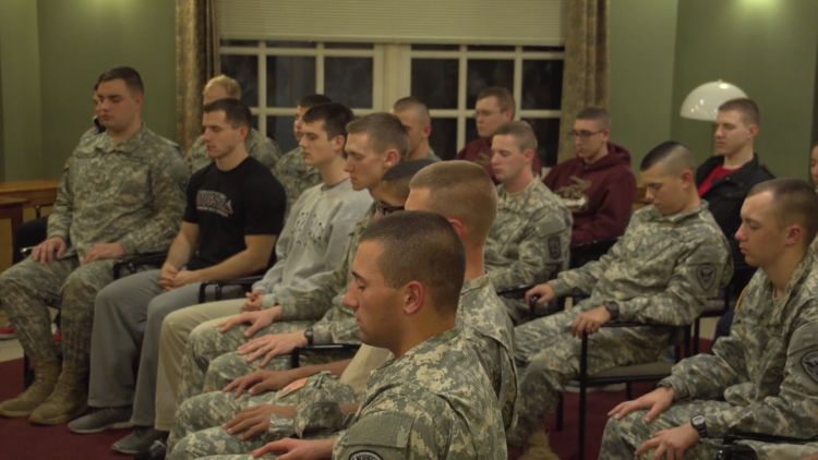 Soldiers meditating during Operation Warrior Wellness CREDIT David Lynch Foundation