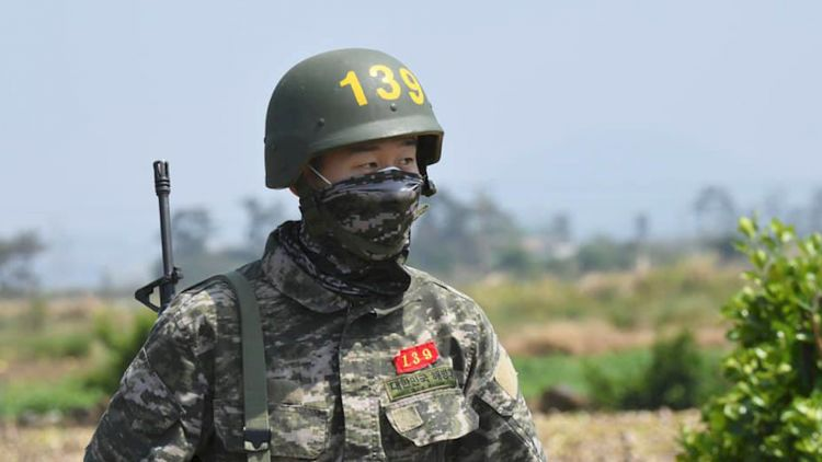 Son Heung-min participating in basic military training 080520 CREDIT Republic of Korea Marine Corps Facebook.jpg