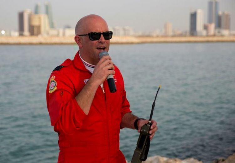 Squadron Leader Mike Ling during last public commentary in Bahrain