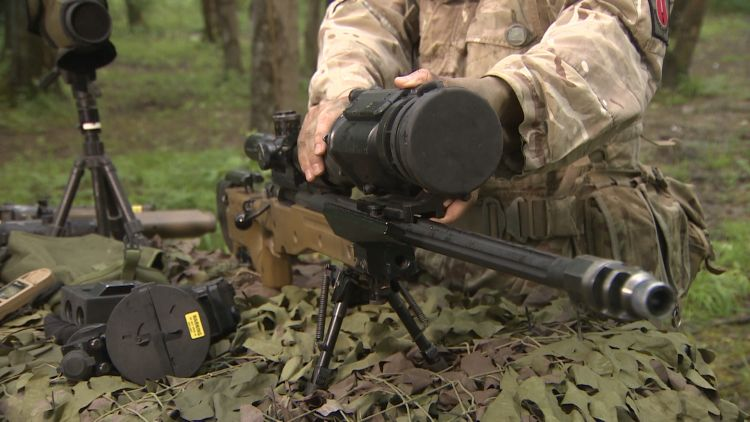 A Stick Sniper Shooting Sight is fitted onto the 338 Sniper Rifle.