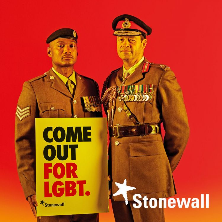 "Brand new research from LGBT charity Stonewall has revealed that, within the last five years, hate crime against the LGBT community has risen by 78%.  And now, the British Army have pledged its support for that community by becoming involved in the Stonewall ""Come Out for LGBT"" campaign.  The Army's LGBT Champion, Lieutenant General Patrick Sanders CBE DSO features in the new campaign, wearing his Army uniform alongside a slogan reading ""Come Out For LGBT""."