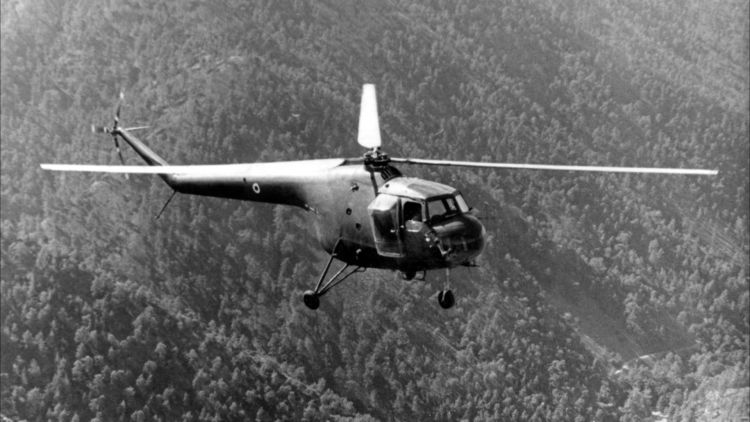 Sycamore 284 Squadron helicopter flies over Cyrpus mountains