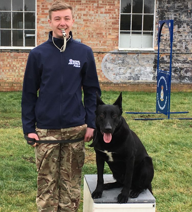 RAF Police Dog Guszti and Cpl Toby Taylor