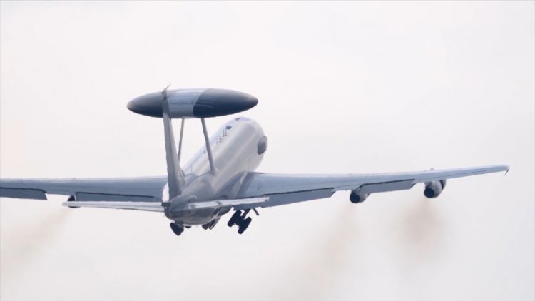 The AWACS takes off from its base in Konya (Picture: NATO TV).