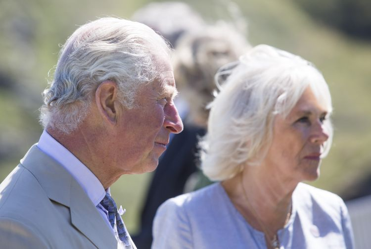 The Prince of Wales and the Duchess of Cornwall during a visit to Tintagel Castle while on a three day visit to Cornwall. 200720 CREDIT PA