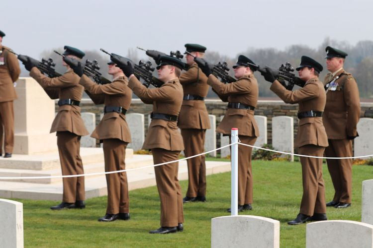 The firing party from 1 RIFLES fire a salute to Private Burt 150419 CREDIT Crown Copyright.jpg