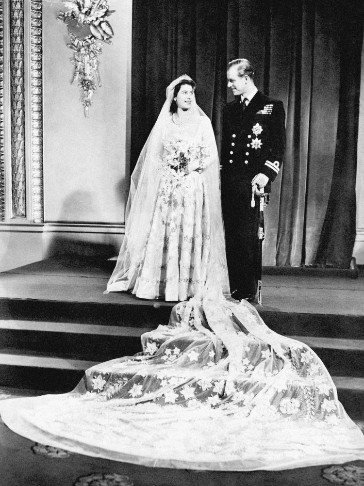 The now-Queen, then-Princess Elizabeth and the Duke of Edinburgh on their wedding day 201147 CREDIT PA