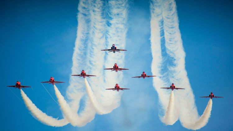 The Red Arrows RAF Cranwell Royal Air Force Diamond Formation Blue Credit Defence Imagery 2013