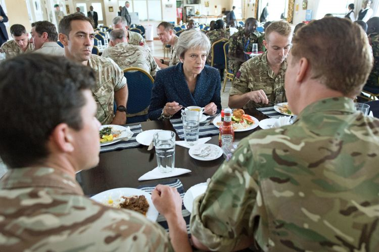 Theresa May eating lunch with British soldiers in Kenya 300818