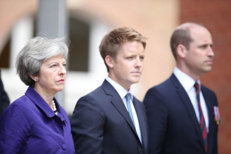 Theresa May with 7th Duke of Westminster and Duke of Cambridge (Picture: Danny Lawson/PA).