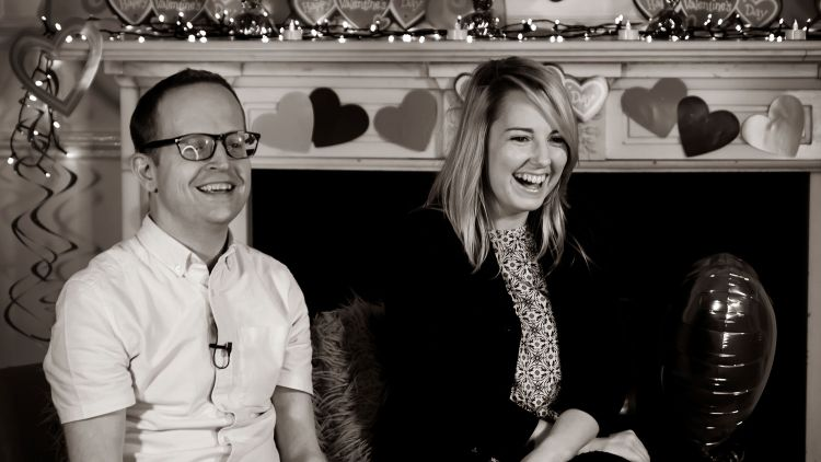 Tim Humphries Jess Bracey Valentine's Day Forces Radio BFBS Forces TV BFBS Extra Black And White