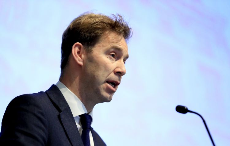 Tobias Ellwood speaking at Veterans' Mental Health Conference at King's College in London 140319 CREDIT PA