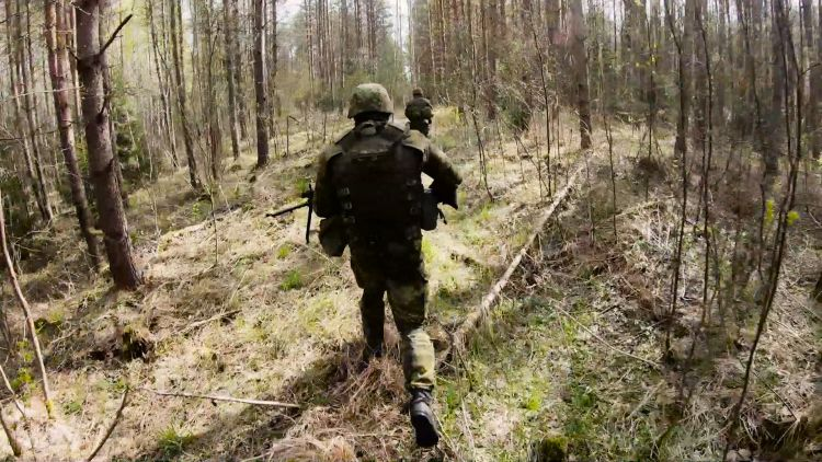 Troops Ex Iron Wolf in forest in lithuania 171219 CREDIT BFBS.jpg