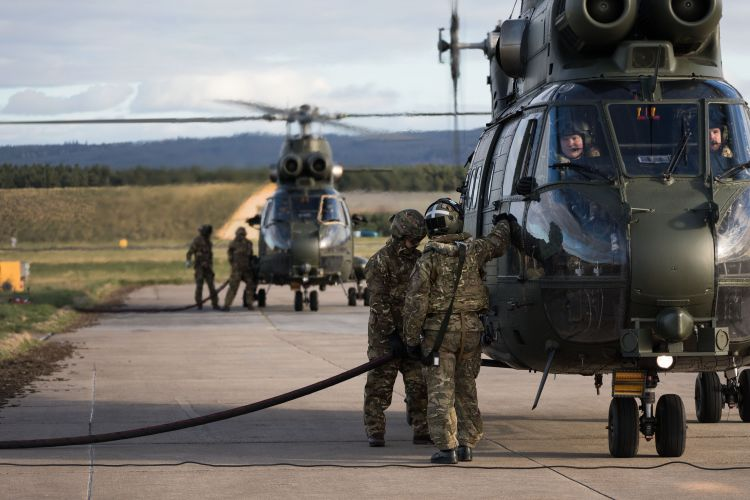 Two Puma helicopters from RAF Benson being refuelled after landing at Kinloss Barracks (Picture: MOD).