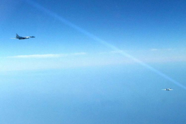 Two Russian blackjacks were approaching UK airspace according to the MOD (Picture: MOD).