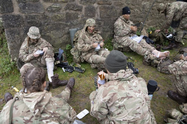 Team during admin break. Credit: Georgina Coupe, BFBS