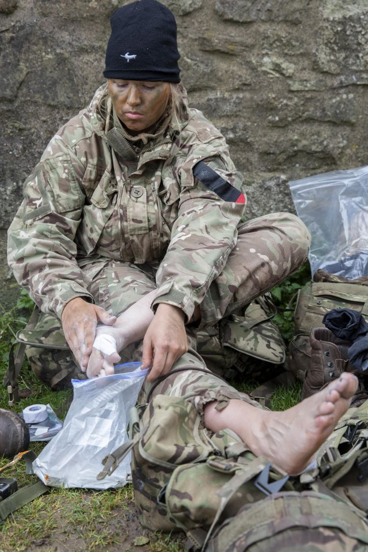 Foot care is critical during Cambrian Patrol. Credit: Georgina Coupe, BFBS