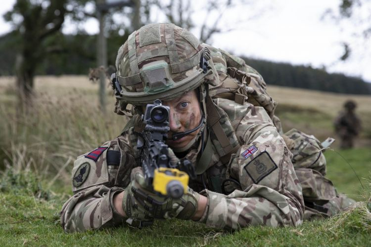 Captain Lara Small during Section Attack serial. Credit: Georgina Coupe, BFBS