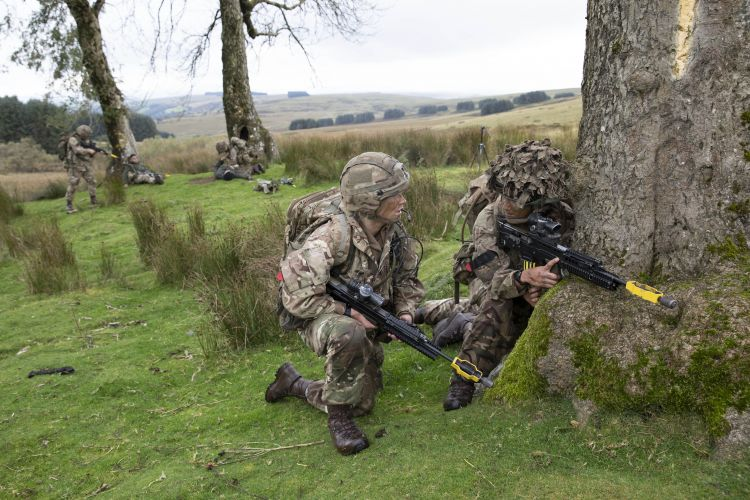 Members of the team during Section Attack serial. Credit: Georgina Coupe, BFBS