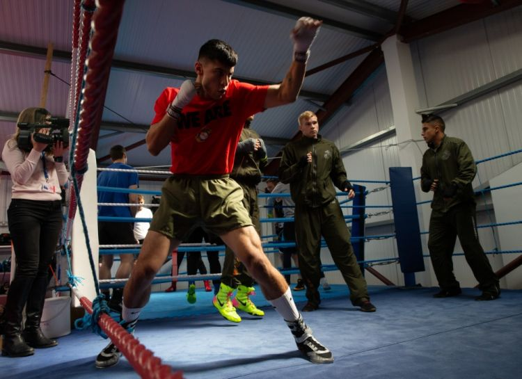 US Marine Corps boxer prepares for bout against Royal Marines