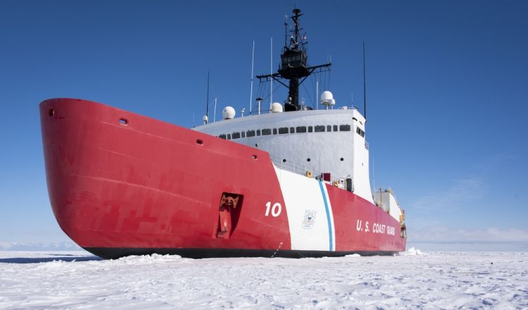 US icebreaker The Coast Guard Cutter Polar Star (WAGB-10) is in the fast Ice Jan. 2, 2020, approximately 20 miles north of McMurdo Station, Antarctica 020120 CREDIT US COASTGUARD 2