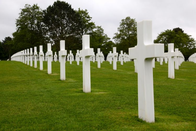 US military headstones in American cemetery in Normandy