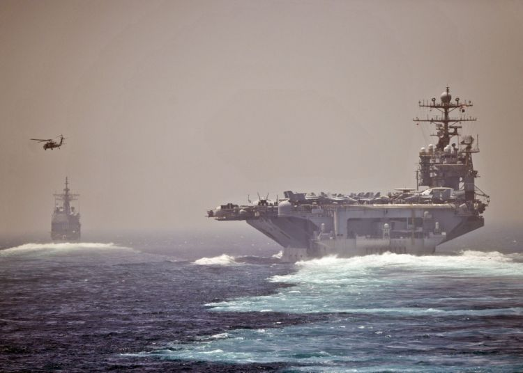 USS Abraham Lincoln and USS Cape St George in Strait of Hormuz