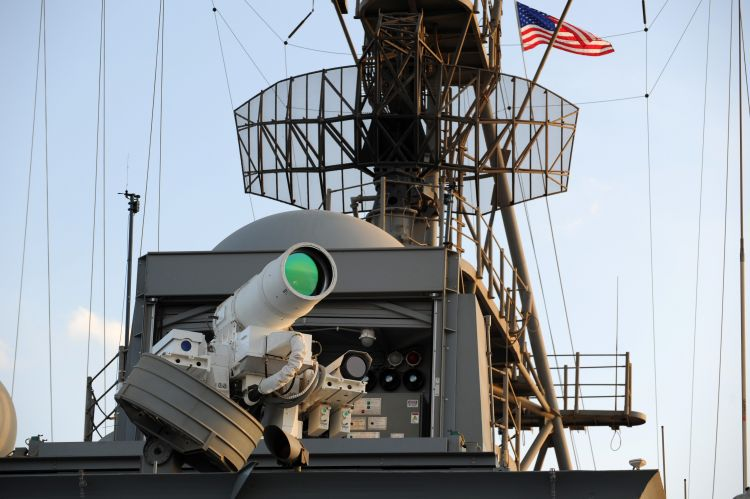 USS Ponce conducts an operational demonstration of Laser Weapon System (LaWS) CREDIT US NAVY