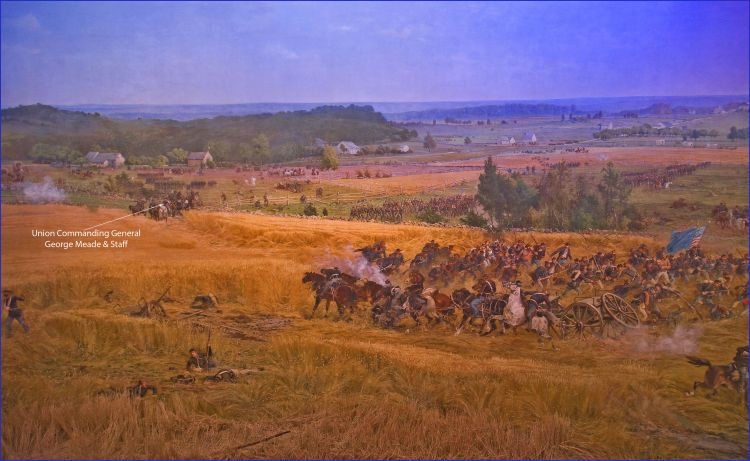 Meade and his staff advancing towards Cemetery Ridge during Pickett's Charge (image: Paul Philippotea)