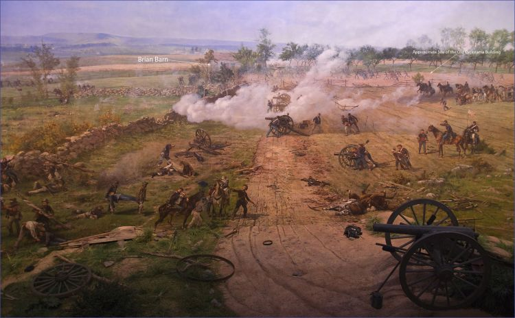 Artillery on Cemetery Ridge firing into Pickett's Charge (image: Paul Philippotea)