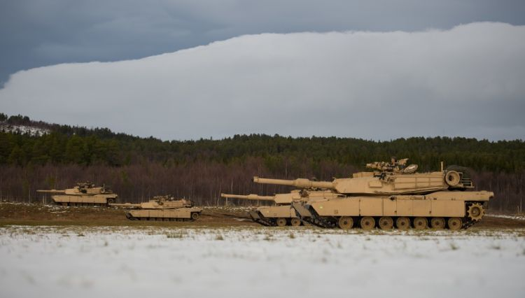 United States M1 Abraham tanks during Trident Juncture