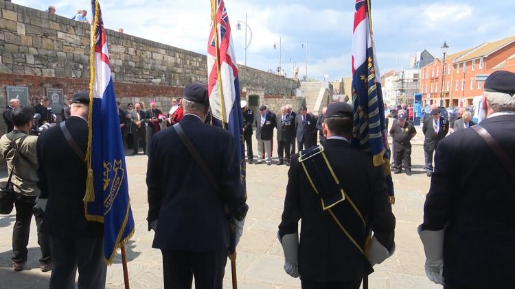 Veterans pay tribute to fallen comrades of the falklands war in Portsmouth Credit BFBS 140619